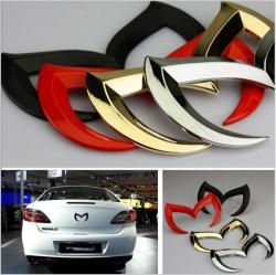 Логотип Mazda M,Летучая мышь Бэтмен металлический значок автомобиля логотип Эмблемы Наклейки Fit Sticke Mazda 3 5 6 CX-7 CX-9 MX-5 Miata RX-8 красный,черный,золотой,серебряный