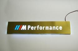 Накладки на пороги с подсветкой BMW E34 зеркальное золото