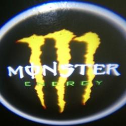 Подсветка логотипа в двери MONSTER,подсветка дверей с логотипом MONSTER,Штатная подсветка MONSTER,подсветка дверей с логотипом авто MONSTER,светодиодная подсветка логотипа MONSTER в двери,Лазерные проекторы MONSTER в двери,Лазерная подсветка MONSTER