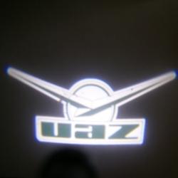 Подсветка логотипа в двери UAZ,подсветка дверей с логотипом UAZ,подсветка дверей с логотипом авто UAZ,светодиодная подсветка логотипа UAZ в двери