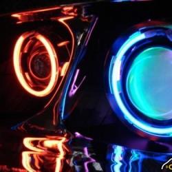 Противотуманные фары с линзой и ангельскими глазками 89мм,Универсальные противотуманные фары 89мм,туманкис линзой и ангельскими глазками 89мм,противотуманки с ангельскими глазкам 89 мм