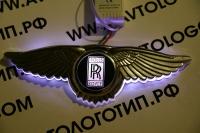 Крылатый логотип Roll Royce с подсветкой