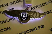 Крылатый логотип Lamborghini с подсветкой