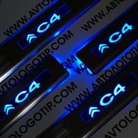 Накладки на пороги с подсветкой Citroen C4