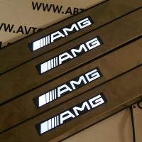 Накладки на пороги с подсветкой Mercedes AMG W124