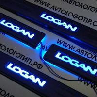 Накладки на пороги с подсветкой Renault Logan