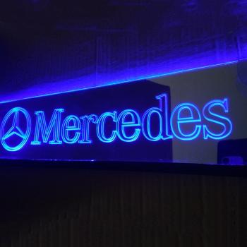 Зеркальная светящаяся табличка Mercedes 2D