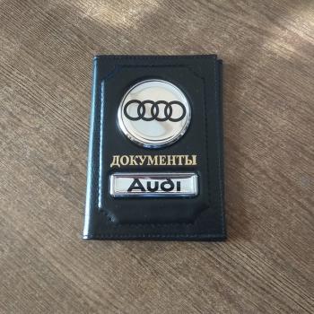 Обложка AUDI (АУДИ) на зеркальном хроме