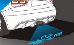 Тень логотипа Toyota Crown, Подсветка днища с логотипом Toyota Crown, Проекция логотипа авто под бампер Toyota Crown, Проектор логотипа Toyota Crown, Подсветка машины с логотипом Toyota Crown